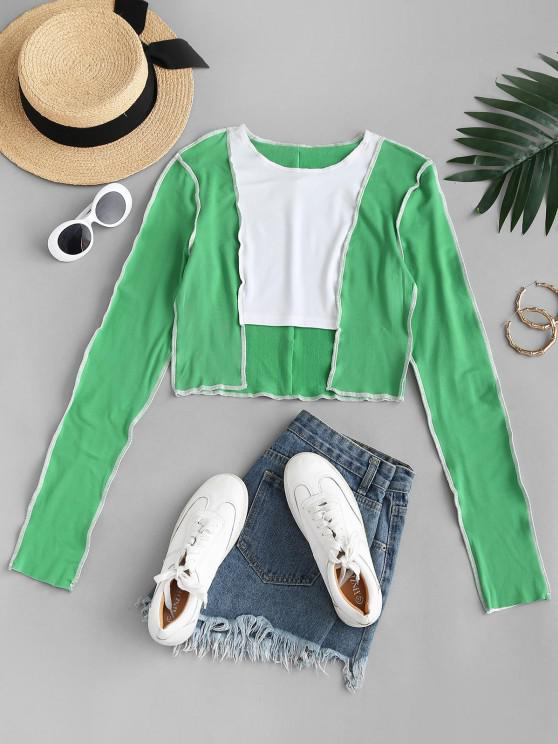 buy Colorblock Topstitching Flocking Lined Step Hem T Shirt - GREEN L