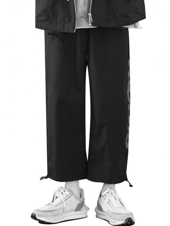 womens Letters Printed Toggle Drawstring Casual Pants - BLACK M