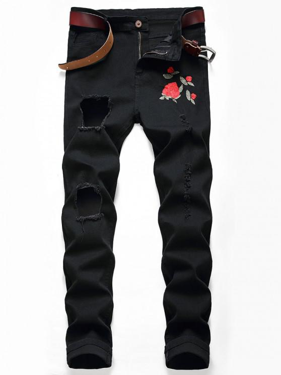 Flower Embroidery Ripped Long Jeans - أسود 36