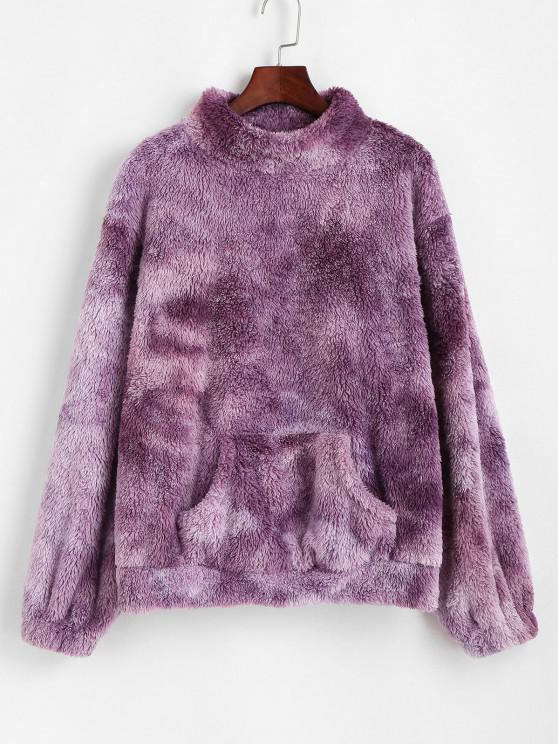 ZAFUL Front Pocket Fluffy Tie Dye Sweatshirt - أرجواني XL