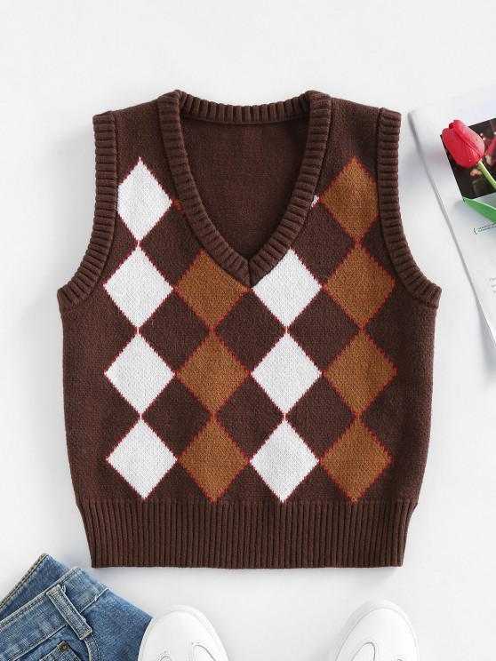 ZAFUL V Neck Argyle Ribbed Trim Sweater Vest - القهوة العميقة L