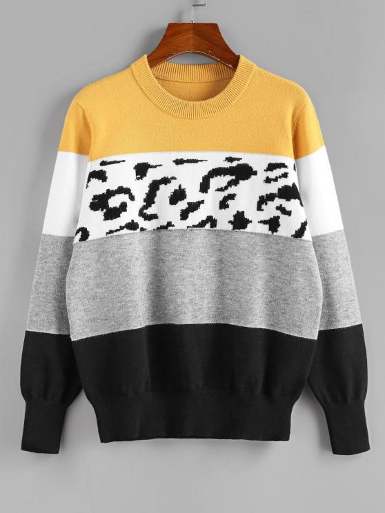 trendy ZAFUL Leopard Colorblock Jumper Sweater - MULTI S