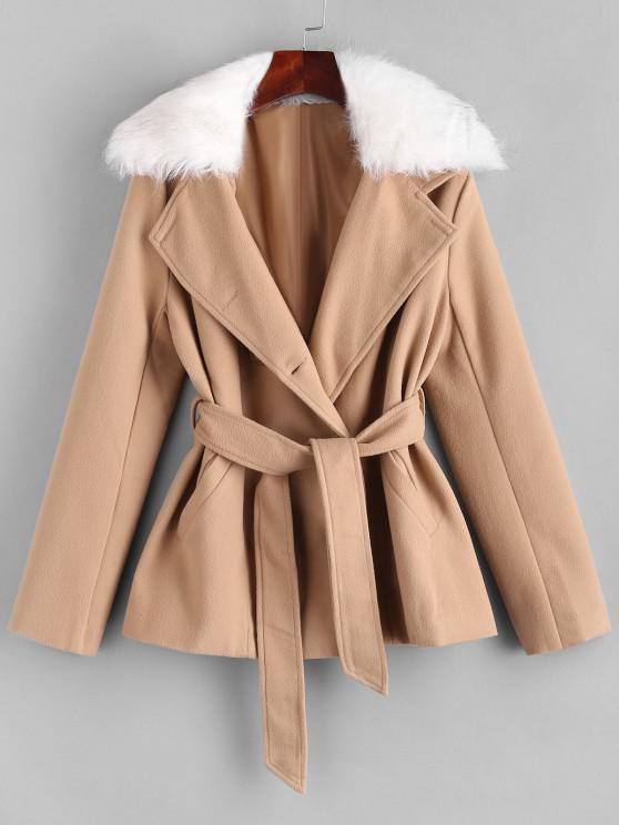 chic Belted Fur Collar Wool Blend Peacoat - LIGHT COFFEE L