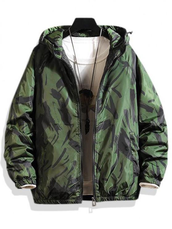 Jaqueta noctilucentes acolchoado com o colarinho pra cima - Verde M