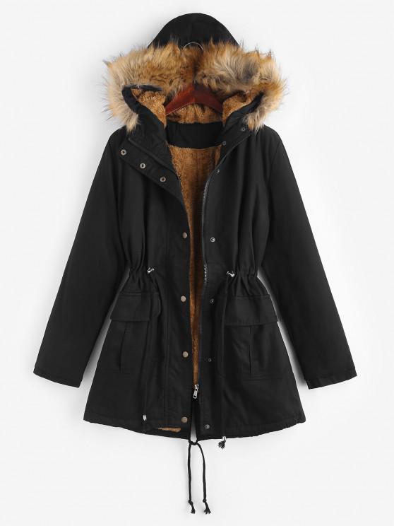 fancy Faux Fur Fluffy Lined Drawstring Hooded Parka Coat - BLACK S