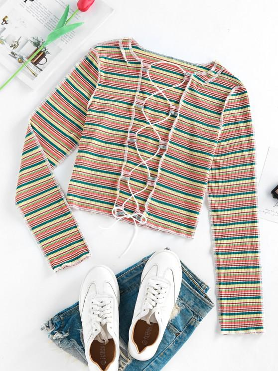 hot ZAFUL Colorful Striped Ribbed Lace Up Exposed Seams T Shirt - MULTI S