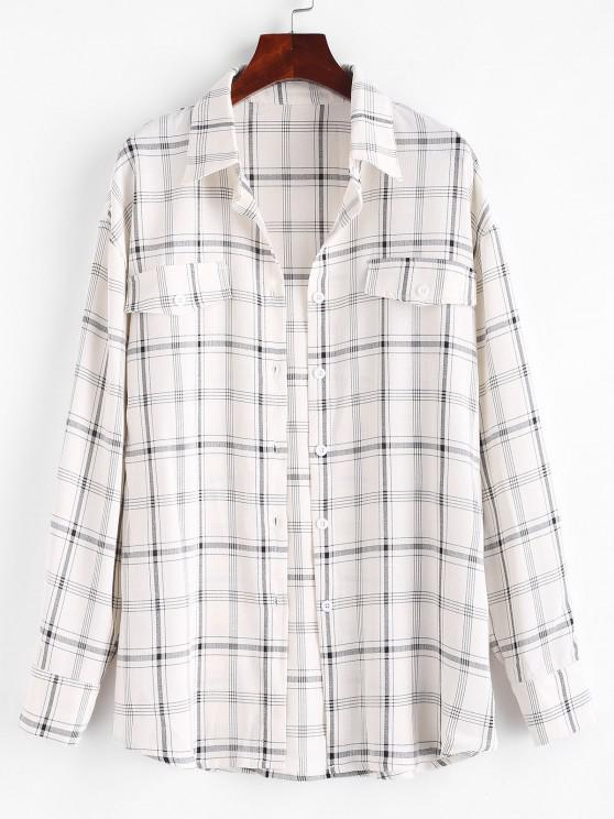Flap Detail Plaid Button Down Shirt - القهوة الخفيفة S