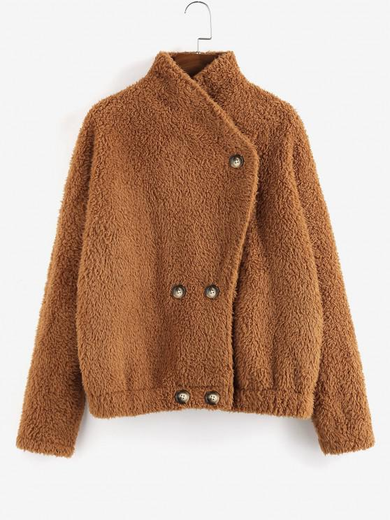 latest ZAFUL Plain Double Breasted Teddy Coat - TAN S