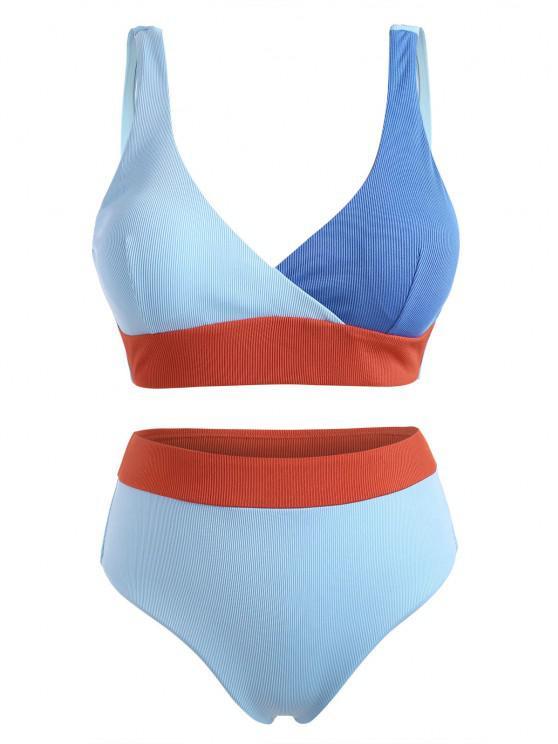 ZAFUL Plus Size Ribbed Colorblock Surplice Bikini Swimwear - أزرق فاتح XXXXL