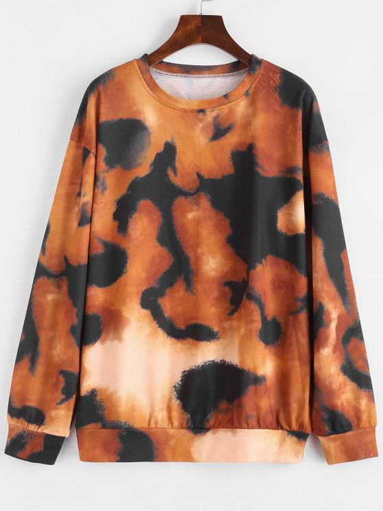 Loose Drop Shoulder Tie Dye Sweatshirt - متعدد S