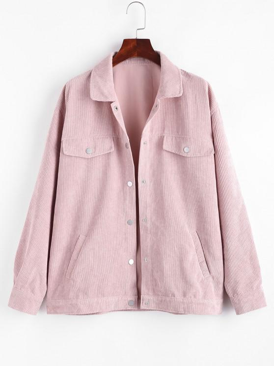 trendy Pockets  Flap Detail Corduroy Shacket - LIGHT PINK M