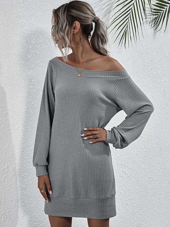 unique Boat Neck Honeycomb Raglan Sleeve Knit Sweatshirt Dress - GRAY M