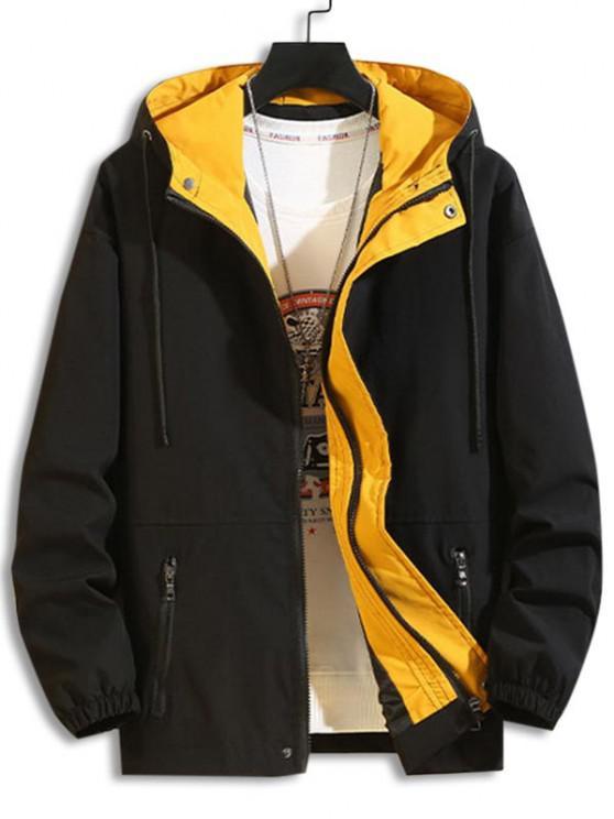 Veste à Capuche Zippée avec Poches à Cordon - Noir XS