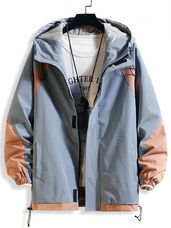 Veste à Capuche Contrastée à Cordon - Bleu clair M