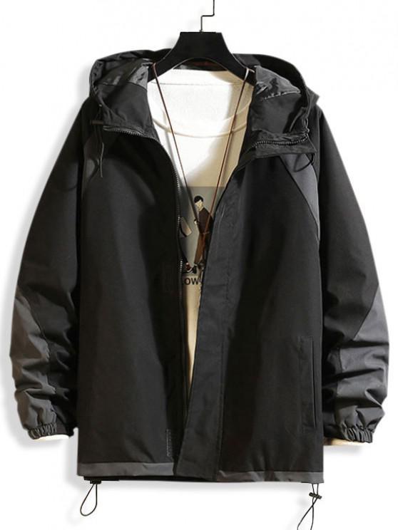unique Hooded Toggle Drawstring Contrast Jacket - BLACK M