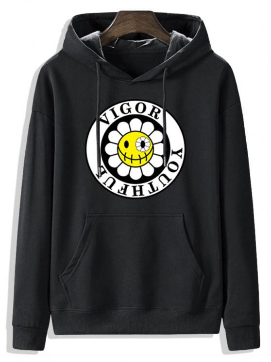 Fleece Lined Sunflower Vigor Youthful Graphic Hoodie - أسود S