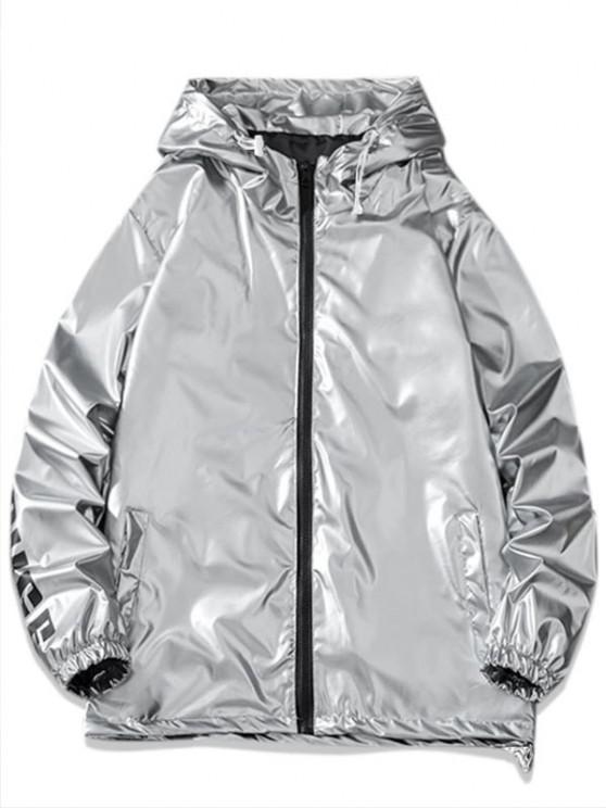 hot Letter Print Hooded Metallic Jacket - LIGHT GRAY M
