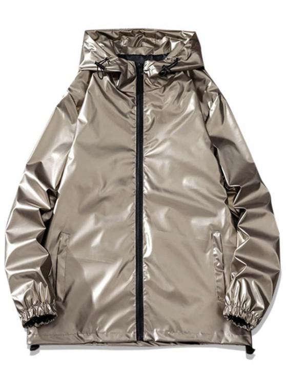 fashion Letter Print Hooded Metallic Jacket - BROWN L