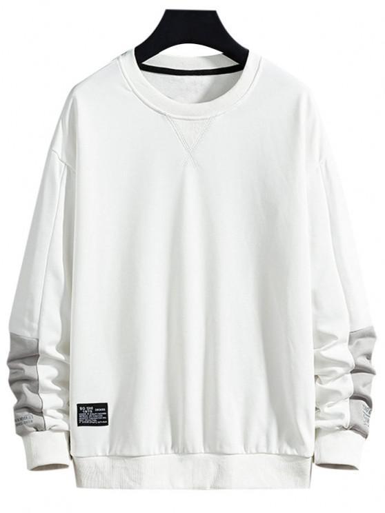 Letter Text Print Applique Contrast Sweatshirt - أبيض XS