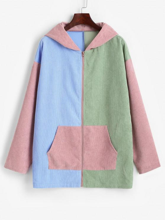 chic ZAFUL Hooded Corduroy Color Blocking Zip Pocket Coat - MULTI-A L