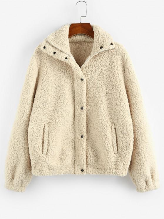 ladies ZAFUL Plain Pocket Teddy Coat - LIGHT COFFEE L
