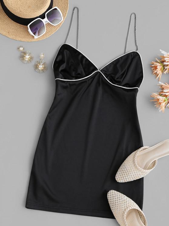 lady Silky Chains Bustier Slinky Dress - BLACK S