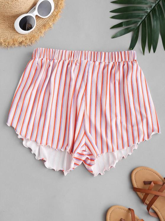 hot ZAFUL Striped Ribbed Lettuce Cover-up Beach Shorts - MULTI M