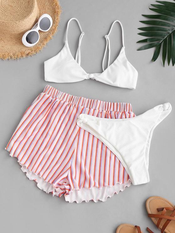 fashion ZAFUL Ribbed Knot Striped Three Piece Bikini Swimwear Set - WHITE L