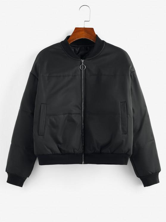 buy ZAFUL Quilted Drop Shoulder Zip Up Jacket - BLACK S