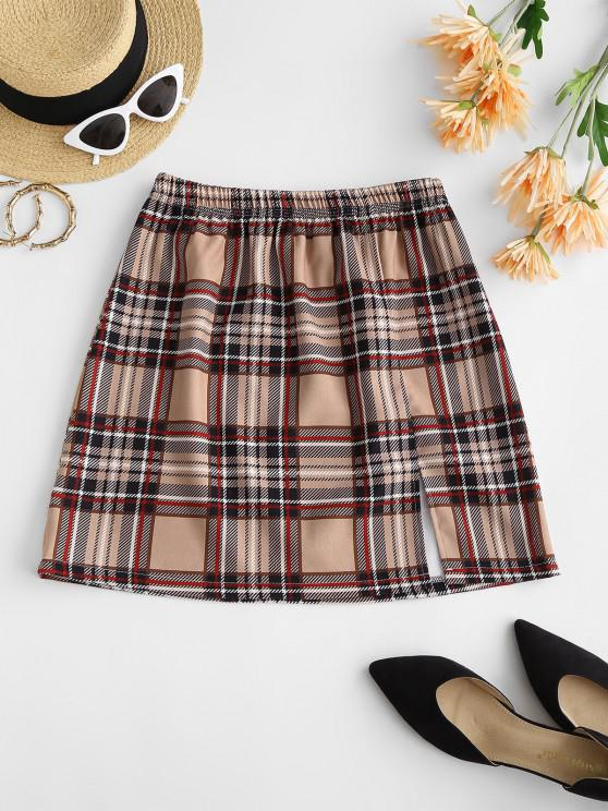 online Plaid Front Slit Mini Skirt - LIGHT COFFEE S