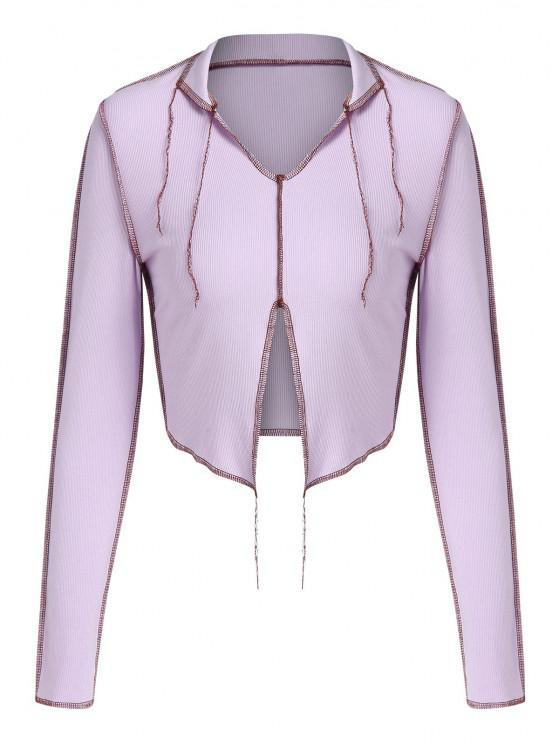 trendy ZAFUL Ribbed Topstitching Slit V Neck Crop T Shirt - LIGHT PURPLE M