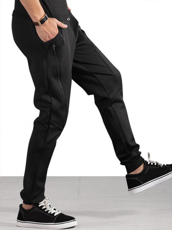 shop Drawstring Zippered Slant Pockets Jogger Pants - BLACK M