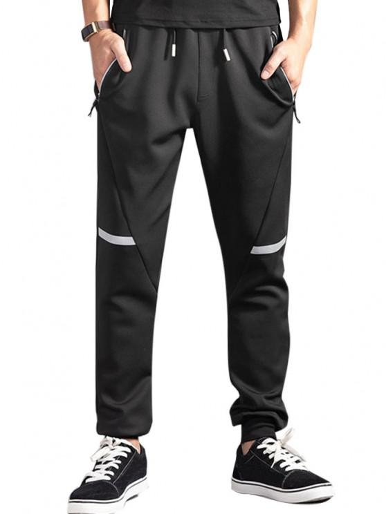 Drawstring Zippered Pockets Jogger Pants - أسود L
