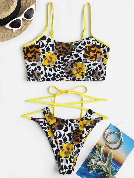 fashion ZAFUL Floral Mix Leopard Crisscross Tie Tankini Swimwear - YELLOW S