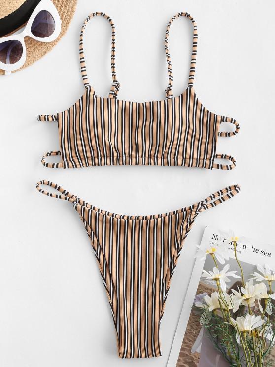 women ZAFUL Ribbed Striped High Leg String Bikini Swimwear - COFFEE M
