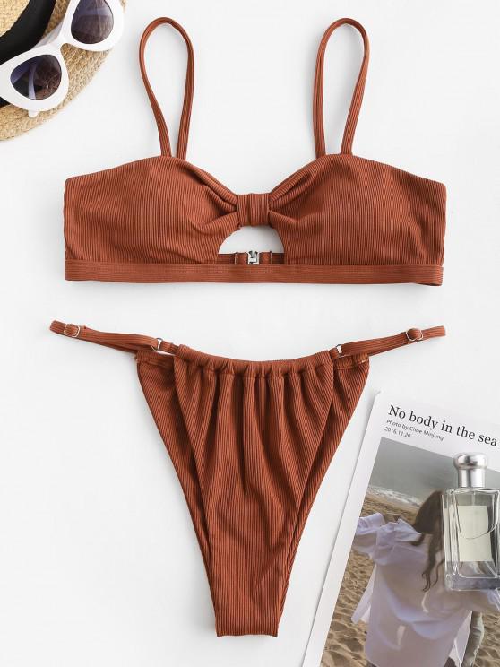 ZAFUL Ribbed Knotted Keyhole String Bikini Swimwear - قهوة M