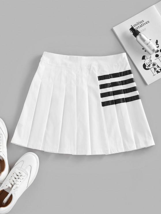 ZAFUL Striped Pleated Mini Skirt - أبيض S