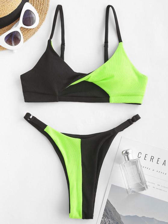 shops ZAFUL Ribbed Colorblock Twisted Cutout String Bikini Swimwear - BLACK S