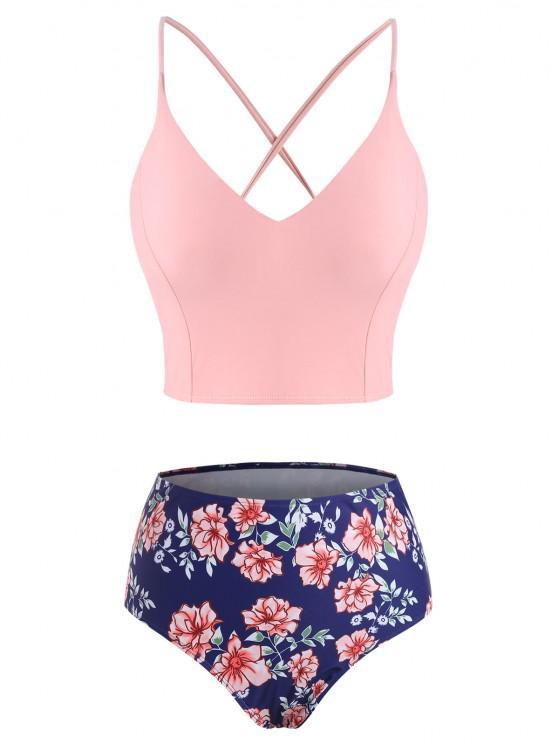 ZAFUL Plus Size Crisscross Lace-up Back Floral Tankini Swimwear - وردي فاتح XXXXL