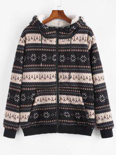 ZAFUL Christmas Snowflake Print Hooded Faux Shearling Jacket - Black Xl