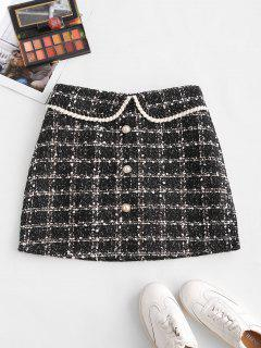 Plaid Faux Pearl Button Tweed Skirt - Black M