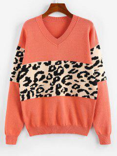 ZAFUL Leopard Insert Drop Shoulder V Neck Sweater - Orange M