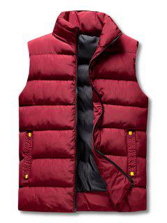 Zip Up Padded Vest - Red Wine Xs