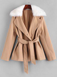 Belted Fur Collar Wool Blend Peacoat - Light Coffee M