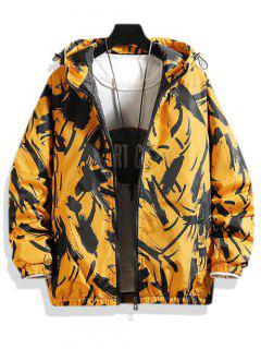 Hooded Scrawl Print Padded Jacket - Yellow L