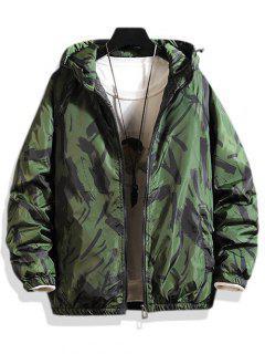 Hooded Scrawl Print Padded Jacket - Green M