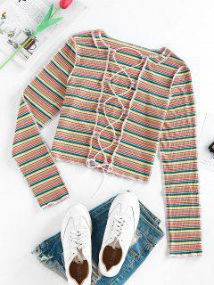 T-Shirt Di ZAFUL A Costine A Righe Colorate Con Lacci - Multi Colori M
