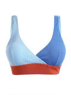 ZAFUL Plus Size Ribbed Colorblock Surplice Bikini Top - Light Blue Xxl