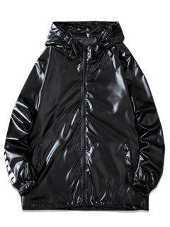 Letter Print Hooded Metallic Jacket - Black L