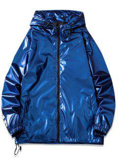 Letter Print Hooded Metallic Jacket - Blue 4xl